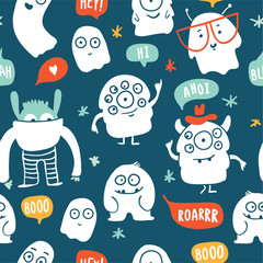 Cute monsters doodles seamless pattern