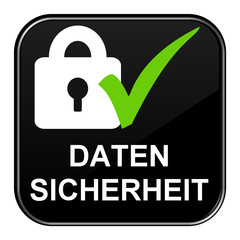 Schwarzer Button zeigt Datensicherheit