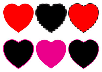 Vector heart icons set. Colored love symbols isolated over white background