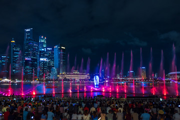 Spectra Light and Water Show Marina Bay Sand Casino Hotel Downtown Singapore