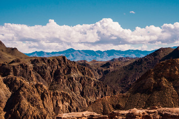 Panorama of a beautiful landscape with mountain ranges in Kazakhstan
