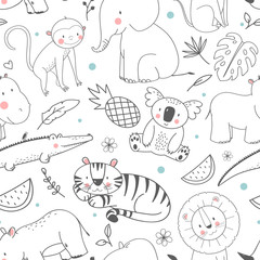 Safari animals vector pattern