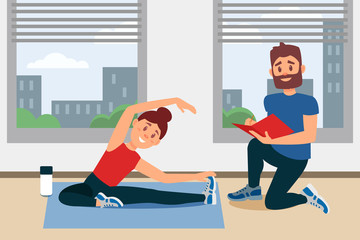 Young girl doing exercise sitting on floor. Coach writing notes in folder. Fitness gym interior with big windows. Flat vector design