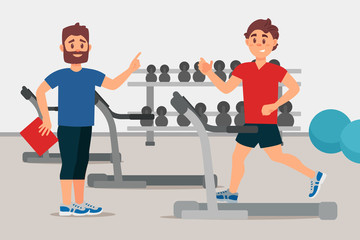 Trainer and young man on treadmill. Sport gym interior with equipment. Active workout. Colorful flat vector design