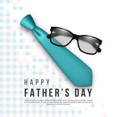 Fathers day greeting card. 3d realistic tie, glasses and checkered pattern. Holiday background. Vector illustration.