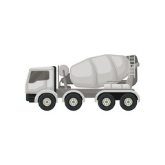Concrete mixing truck. Machine with rotating container for transporting cement. Large vehicle using in construction. Flat vector design
