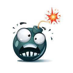 Cartoon bomb, fuse, wick, spark icon Afraid smiley Vector eps 2