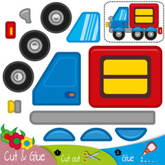 Large blue truck with a red cargo container. Education paper game for preshool children. Vector illustration.
