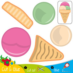 Multicolored ice cream balls in a waffle cup. Education paper game for preshool children. Vector illustration.