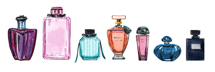 Hand drawn watercolor set of different women perfume bottles