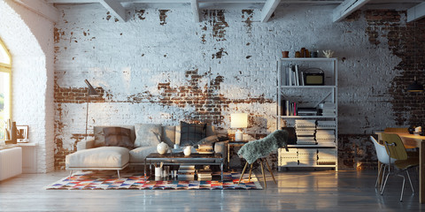 panorama view inside vintage brick loft apartment