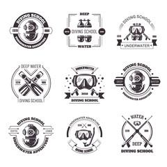 Diving school promo monochrome emblems with equipment set