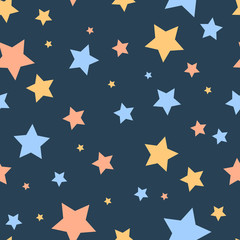 Colorful simple stars on blue night sky cute childish seamless pattern, vector