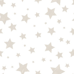 Silver colored simple embroidered stars on white cute childish seamless pattern, vector