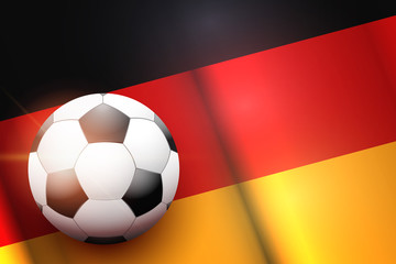 Poster of Football ball on Germany Flag Backgound. Football and Soccer Games. Sport equipment and teams. Vector Illustration