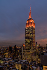 View of Empire State Building at dusk.