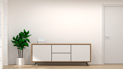 White wood modern cabinet in empty room interior background  3d illustration home designs,shelves and books on the desk in front of  wall empty wall