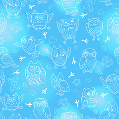 Seamless pattern with contour images of cartoon owls , white outline on a blue background