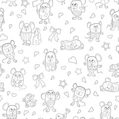 Seamless pattern with funny cartoon contour mouses ,the dark outlines on a white background