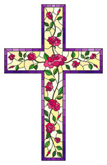 The illustration in stained glass style painting on religious themes, stained glass window in the shape of a Christian cross decorated with pink roses isolated on white background