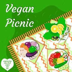 Vegan picnic in the open air