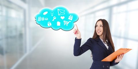 business woman with online content cloud