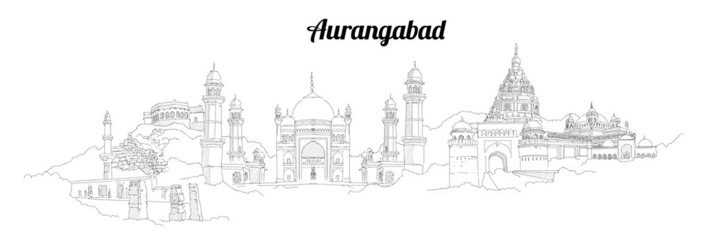 AURANGABAD city vector panoramic hand drawing illustration