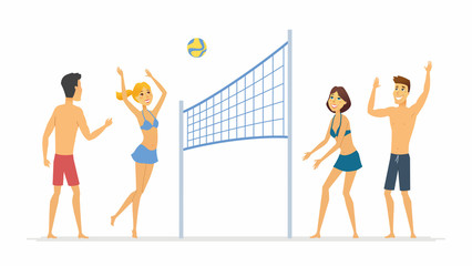 Beach volleyball - cartoon people character isolated illustration