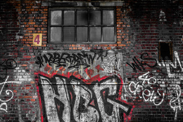 In de dag Graffiti Dirty tagged old train station in Poland