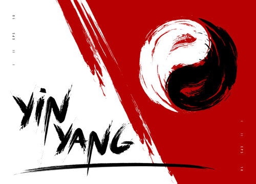 Vector watercolor brush yin yang symbol of harmony and balance. Black and white on red background illustration