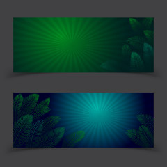 Banner Tropical Leaves Vector Design.Vector illustration template.