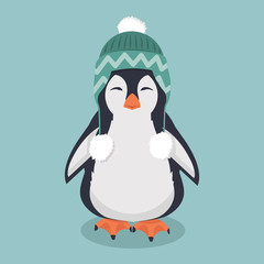 Cute penguin  with wool hat vector