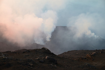 Smoke escaping from volcanic crater, Volcano Stromboli, Aeolian Islands, Sicily, Italy