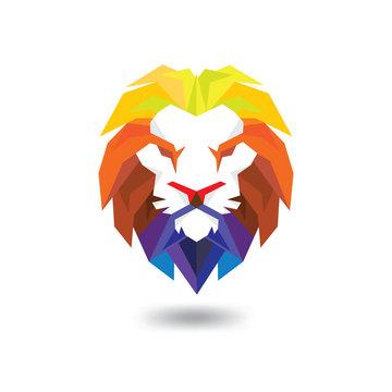Lion Head full color Logo Vector Template