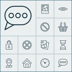 Internet icons set with trading basket, clock, picture and other glance