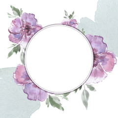 Flower frame with a watercolor. Greeting card. Basis for the designer