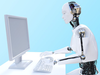 3D rendering of male robot sitting at computer.