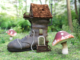 3D rendering of a fairytale shoe house in a mushroom forest.