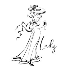 Beautiful girl in a hat with a glass of wine .Lady. Inscription.