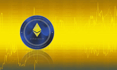 Ethereum coin cryptocurrency closeup. Yellow background with diagrams and graphs of the exchange. Blockchain technology digital payment network for financial transactions. Cyber money.