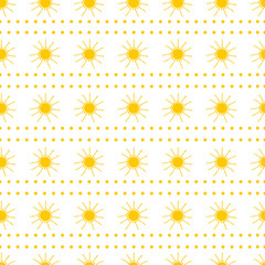 Seamless pattern from the yellow sun. Colorful background.