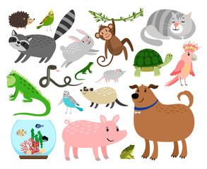 Cartoon pet animals set