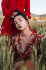 Sensual young models in field