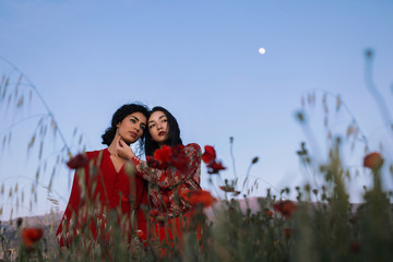 Beautiful models in red in field