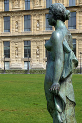 Paris (France) Bronze sculpture in the garden of the Tuileries next to the Louvre Museum in the city of Paris.