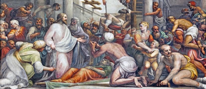 PARMA, ITALY - APRIL 16, 2018: The fresco Jesus at the healing  in Duomo by Lattanzio Gambara (1567 - 1573).