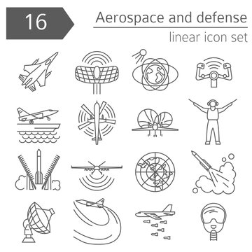Aerospace and defense, military aircraft icon set. Thin line design for creating infographics
