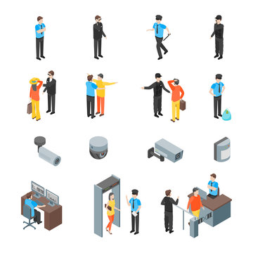 Security System People and Equipment 3d Icons Set Isometric View. Vector
