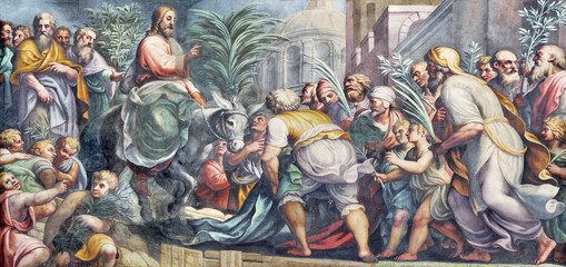 Photo sur cadre textile Monument PARMA, ITALY - APRIL 16, 2018: The fresco of Entry of Jesus in Jerusalem (Palm Sundy) in Duomo by Lattanzio Gambara (1567 - 1573).