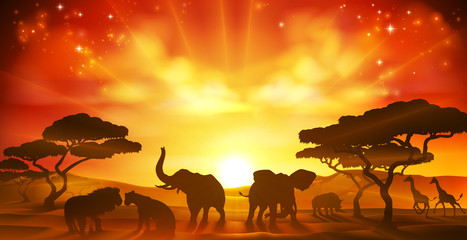 African Safari Animal Savannah Silhouette Scene